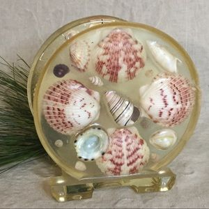 Vintage Acrylic Seashell Napkin Holder Beach Decor
